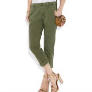 J Brand army green Inez cropped chino pants